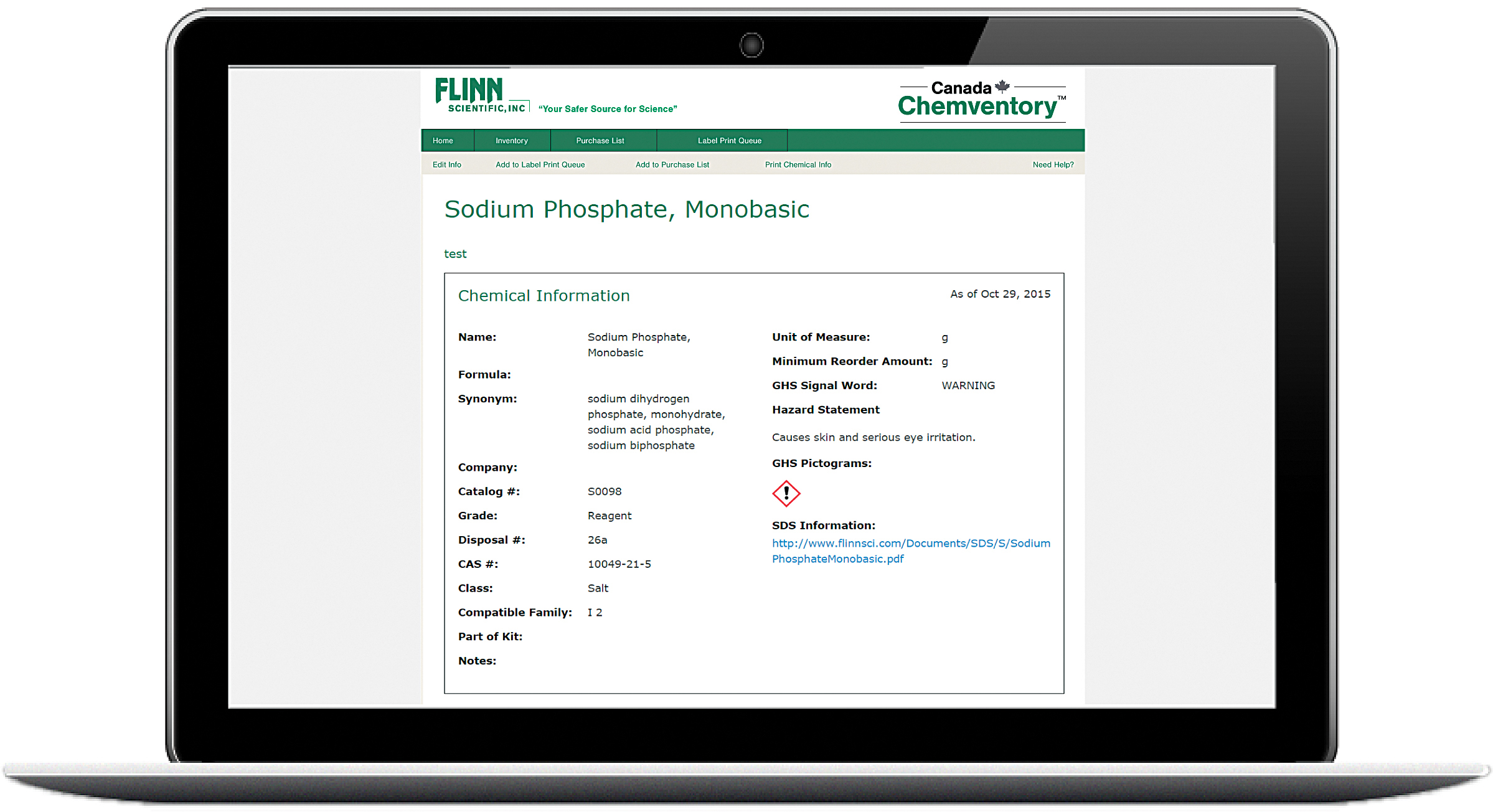 Flinn Canada Online Chemventory™ Chemical Inventory Management System
