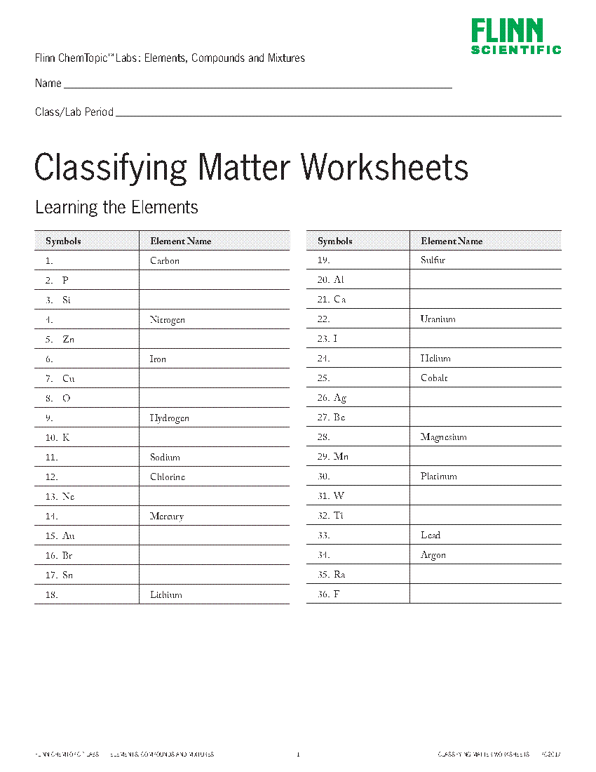 Classifying Matter Worksheets Identification and Flow ...
